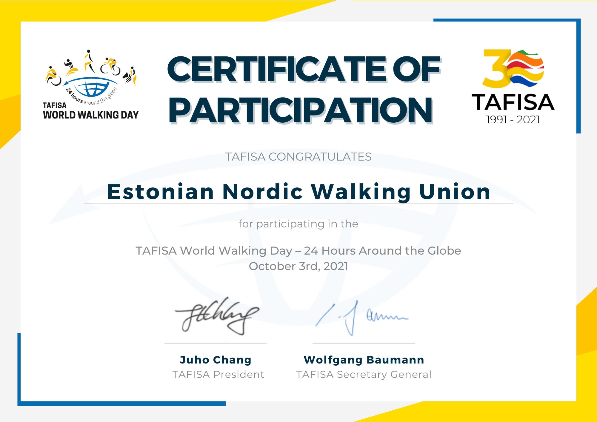 Eesti Kepikõnni Liit andis panuse TAFISA maailma käimispäevale